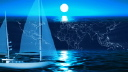 Royalty Free Video of a Rotating Sailboat on Water With the Moon and a Map Behind It