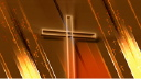 Royalty Free Video of a Gold Cross on a Shimmering Background