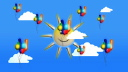 Royalty Free HD Video Clip of Balloons Floating in the Sky Near Clouds and the Sun