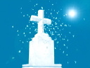 Royalty Free Video of Snow Falling on a Cross