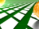 Royalty Free Video of a Gold Soccer Ball on a Green and White Pattern