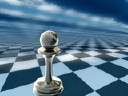 Royalty Free Video of a Pawn and Knight on a Chess Board