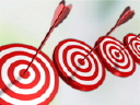Royalty Free Clipart Image of a Row of Targets