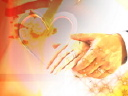 Royalty Free Video of a Man and Woman Holding Hands Beside a Heart