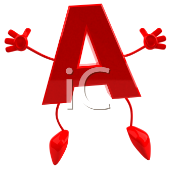 Royalty Free 3d Clipart Image of the Letter A Jumping in the Air