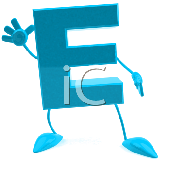 Royalty Free 3d Clipart Image of the Letter E Waving