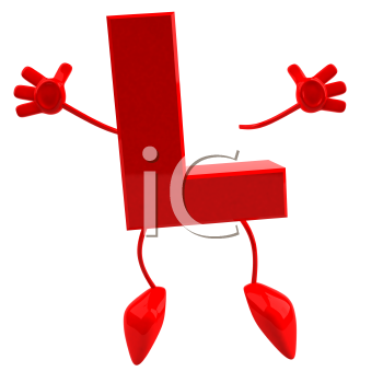 Royalty Free 3d Clipart Image of the Letter L Jumping