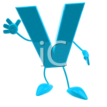 Royalty Free 3d Clipart Image of the Letter V Waving