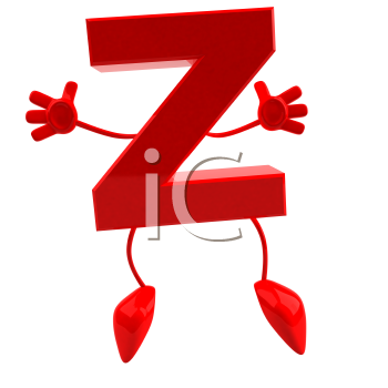 Royalty Free 3d Clipart Image of the Letter Z Jumping