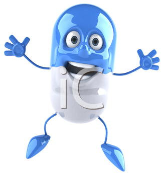 Royalty Free Clipart Image of a Capsule Jumping