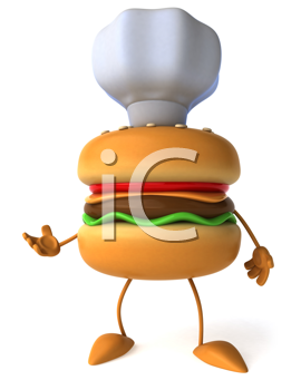 Royalty Free Clipart Image of a Burger in a Chef's Hat