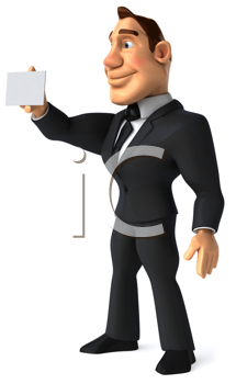 Royalty Free Clipart Image of a Business Suit Man With a Card