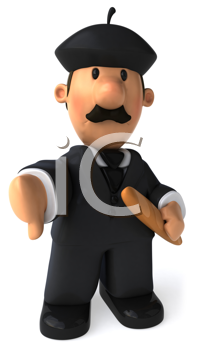 Royalty Free Clipart Image of a French Business Man Holding Bread and Giving a Thumbs Down
