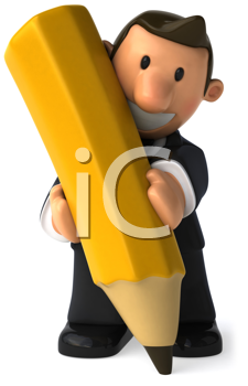 Royalty Free Clipart Image of a Man Holding a Big Pencil