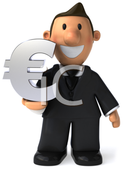 Royalty Free Clipart Image of a Businessman With a Symbol