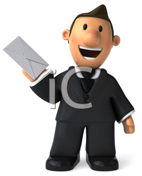 Royalty Free Clipart Image of a Businessman Holding a Letter