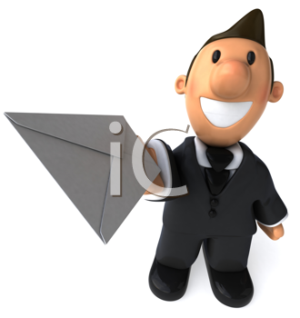 Royalty Free Clipart Image of a Businessman With a Letter