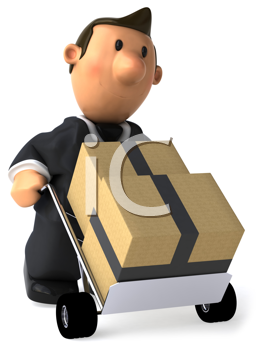 Royalty Free Clipart Image of a Businessman Moving Packages