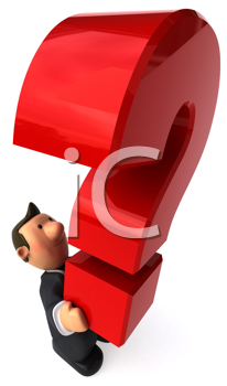 Royalty Free Clipart Iamge of a Business Man Holding a Question Mark