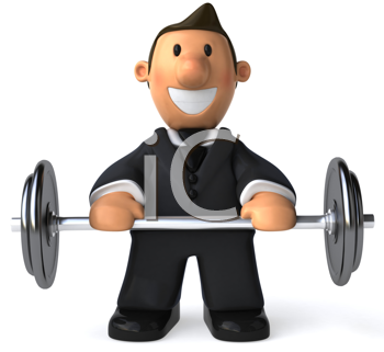 Royalty Free Clipart Image of a Businessman Lifting a Barbell