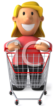 Royalty Free Clipart Image of a Woman With a Grocery Cart