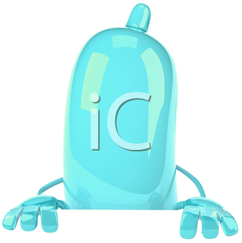 Royalty Free Clipart Image of a Turquoise Condom