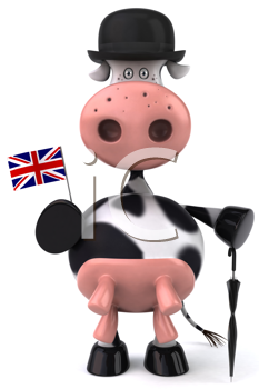 Royalty Free Clipart Image of a British Cow