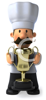 Royalty Free Clipart Image of a Baker With a Trophy