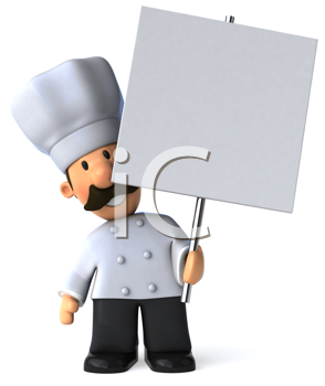 Royalty Free Clipart Image of a Chef With a Placard