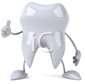Royalty Free Clipart Image of a Tooth Giving a Thumbs Up