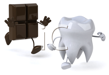 Royalty Free Clipart Image of a Piece of Chocolate Chasing a Tooth