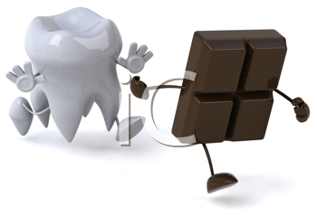 Royalty Free Clipart Image of a Tooth Chasing a Piece of Schocolate