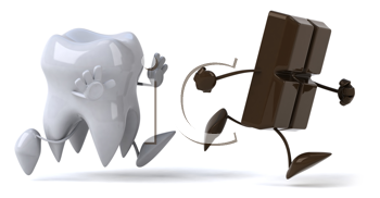 Royalty Free Clipart Image of a Tooth Chasing a Piece of Chocolate