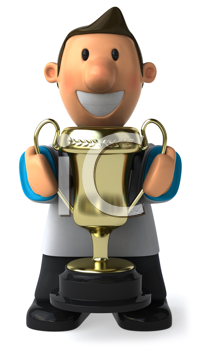 Royalty Free Clipart Image of a Man Holding a Trophy