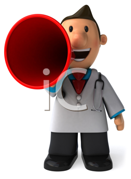 Royalty Free Clipart Image of a Doctor With a Megaphone