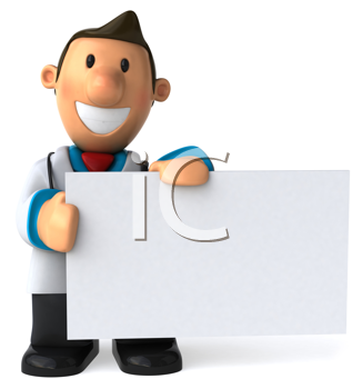 Royalty Free Clipart Image of a Doctor Holding a Blank Sign