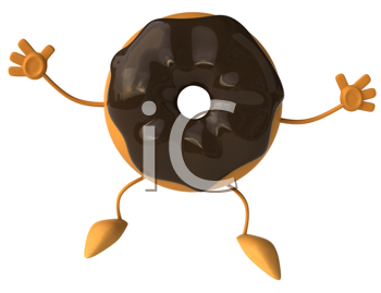 Royalty Free Clipart Image of a Chocolate Doughnut