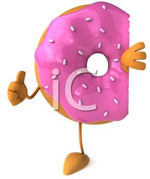 Royalty Free Clipart Image of a Pink Covered Doughnut