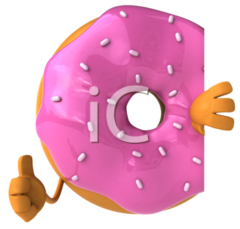 Royalty Free Clipart Image of a Pink Glazed Doughnut Giving a Thumbs Up