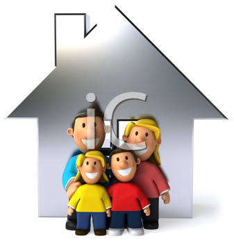 Royalty Free Clipart Image of a Family in Front of a Silver House