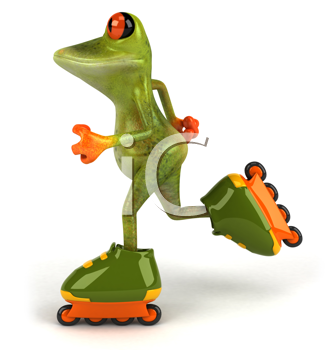 Royalty Free Clipart Image of a Frog on Roller Blades
