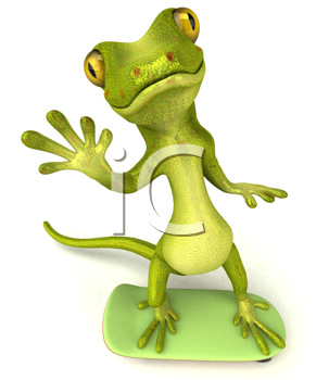 Royalty Free Clipart Image of a Gecko on a Skateboarder