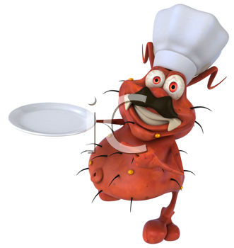 Royalty Free Clipart Image of a Germ Chef Holding a Plate