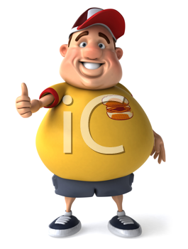 Royalty Free Clipart Image of a Fat Man With a Thumbs Up