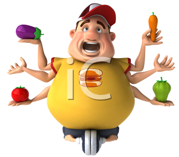 Royalty Free Clipart Image of a Fat Guy Holding Vegetables in Six Hands While Cycling