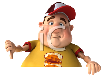 Royalty Free Clipart Image of a Chubby Guy Giving a Thumbs Down