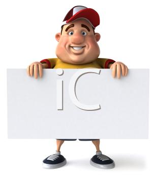 Royalty Free Clipart Image of a Fat Man Holding a Blank Sign in Front of Him