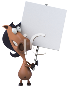 Royalty Free Clipart Image of a Horse With a Placard