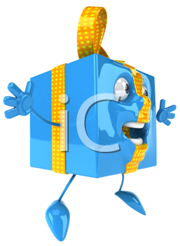 Royalty Free Clipart Image of a Blue Package Jumping