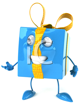 Royalty Free Clipart Image of a Blue Package With a Yellow Ribbon With a Hand Extended